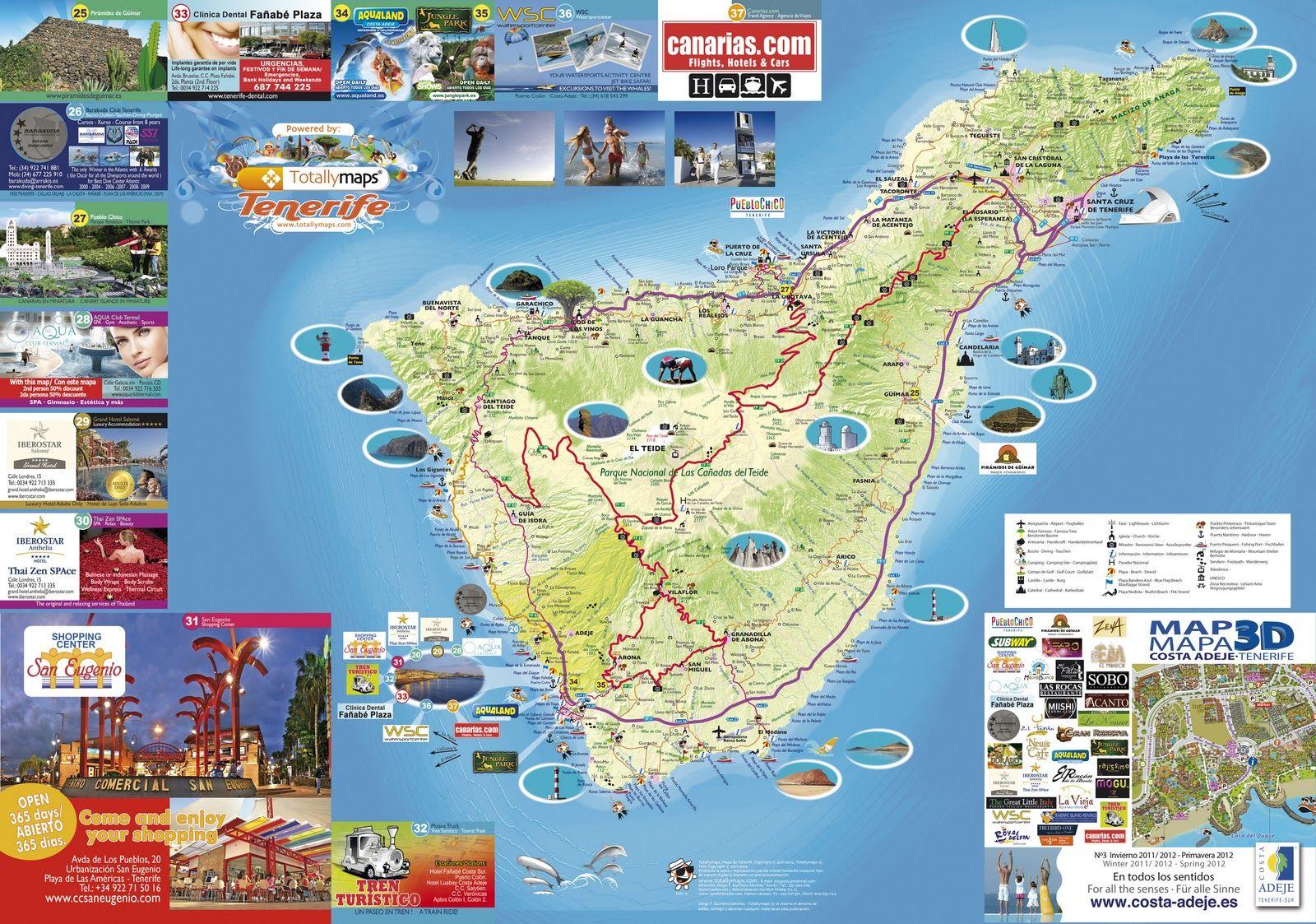 Carte Tenerife.Carte Touristique De Tenerife Espagne En 2019 Tenerife
