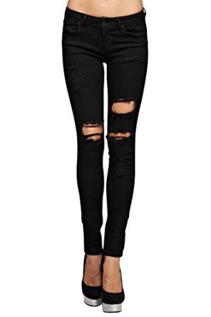 47ddfa128b07 Vialumi Women's Juniors Torn Distressed Ripped Destroyed Skinny Jeans Black  1 at Amazon Women's Jeans store