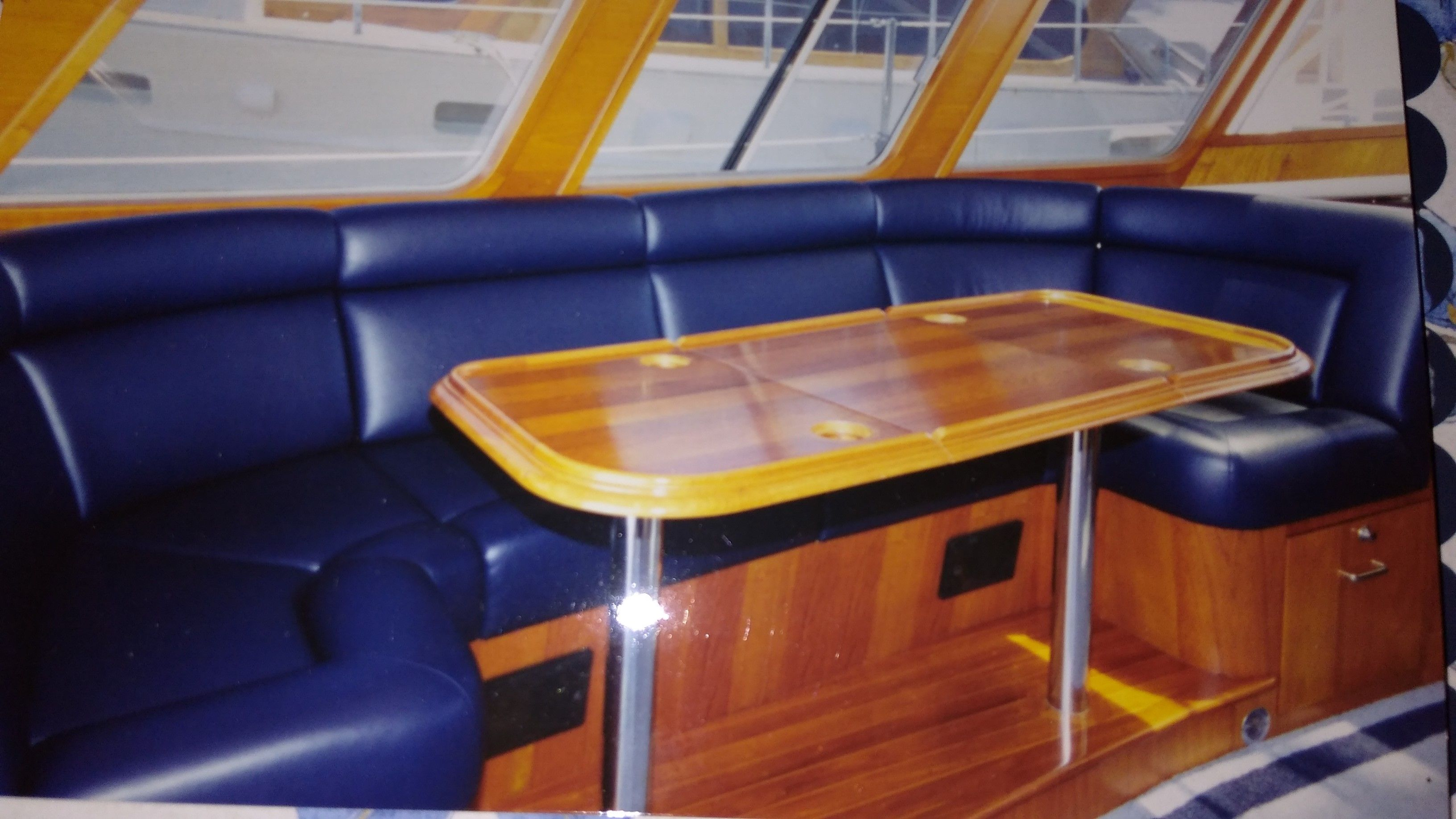 Faux Leather Was Used To Fabricate This New Settee For The Yacht