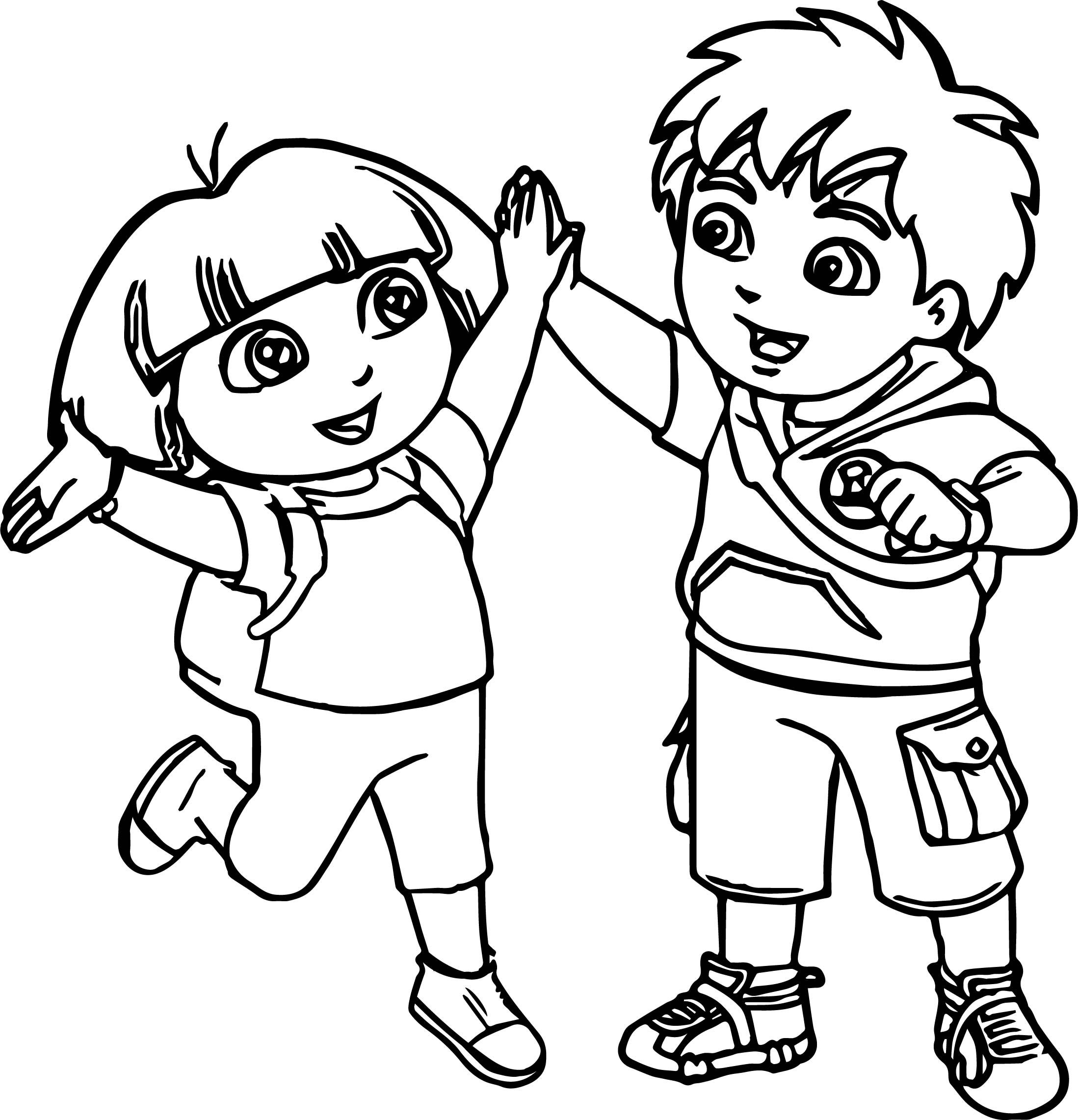 Awesome Go Diego Go And Dora Best Friends Coloring Page Kleurplaten
