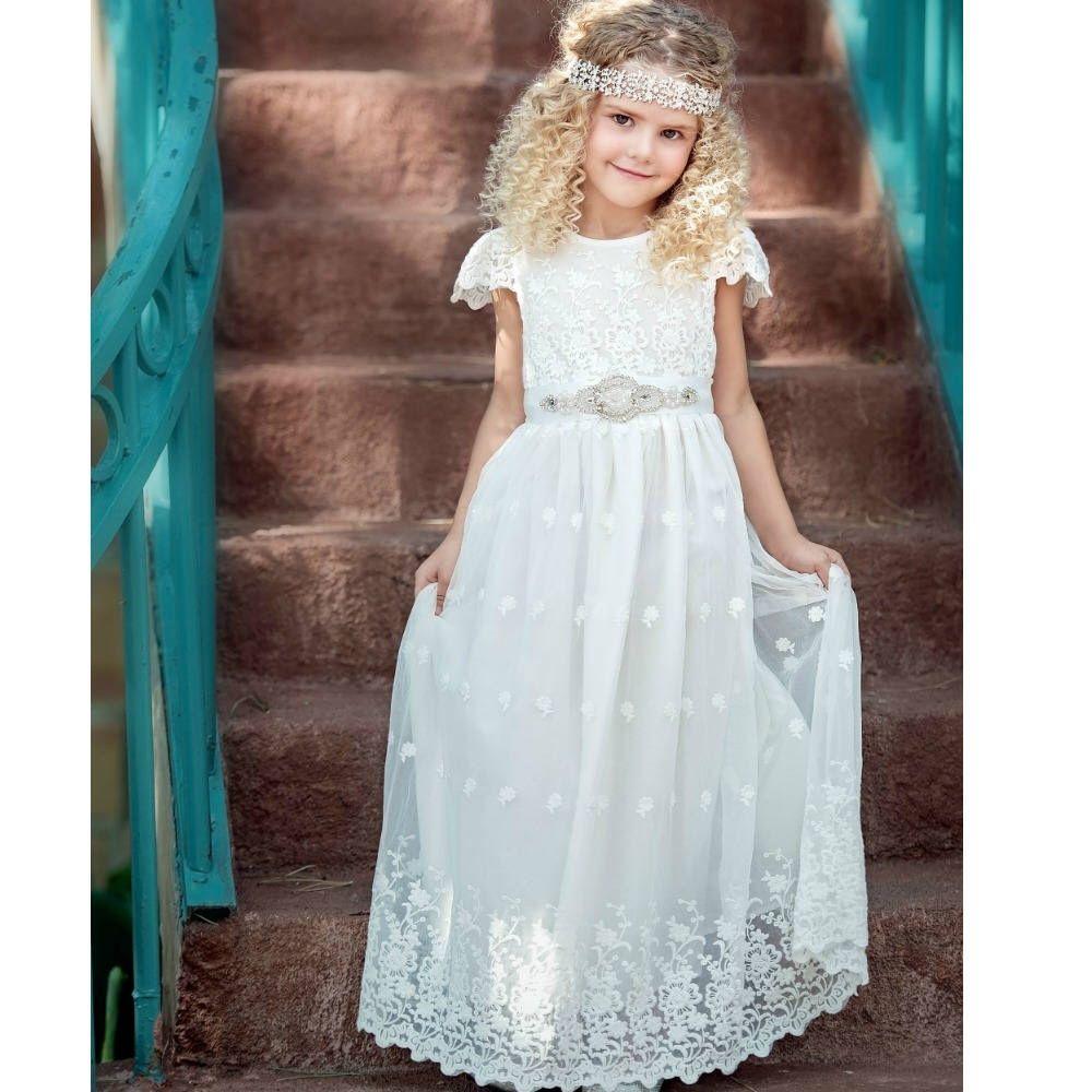White Flower Girl Dress First Communion Dress Lace Flower Girl Dresses Boho Chic Flower White Flower Girl Dresses Flower Girl Dresses Boho Off White Dresses [ 1000 x 1000 Pixel ]