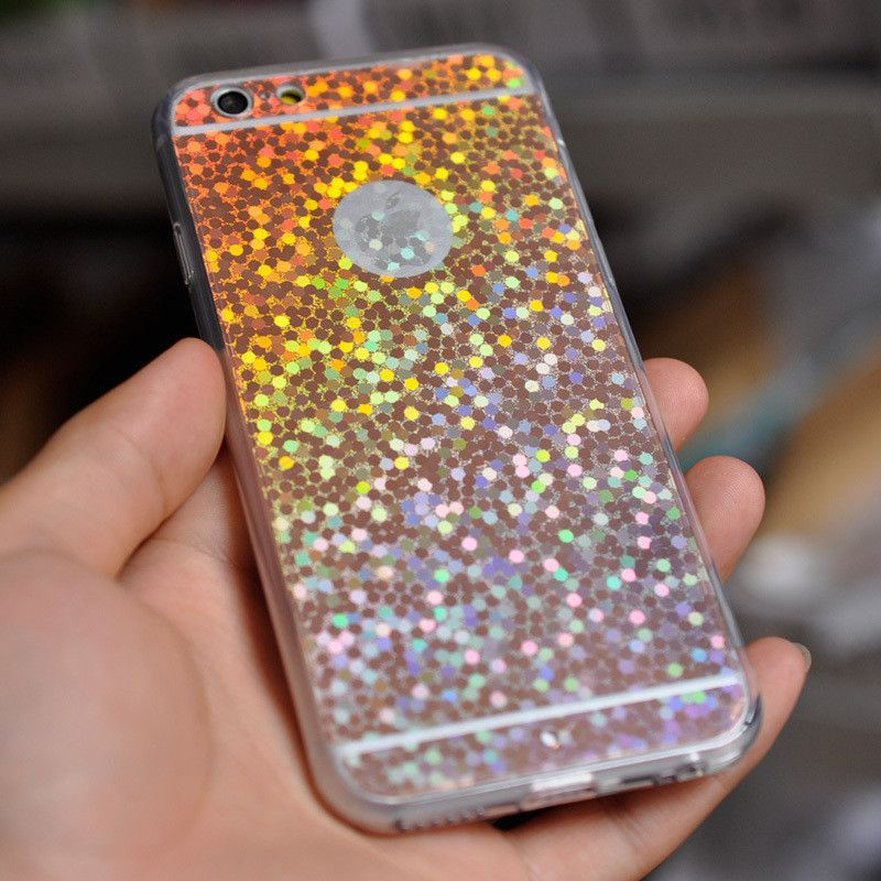 Holographic rainbow soft phone case for iphone 66 plus
