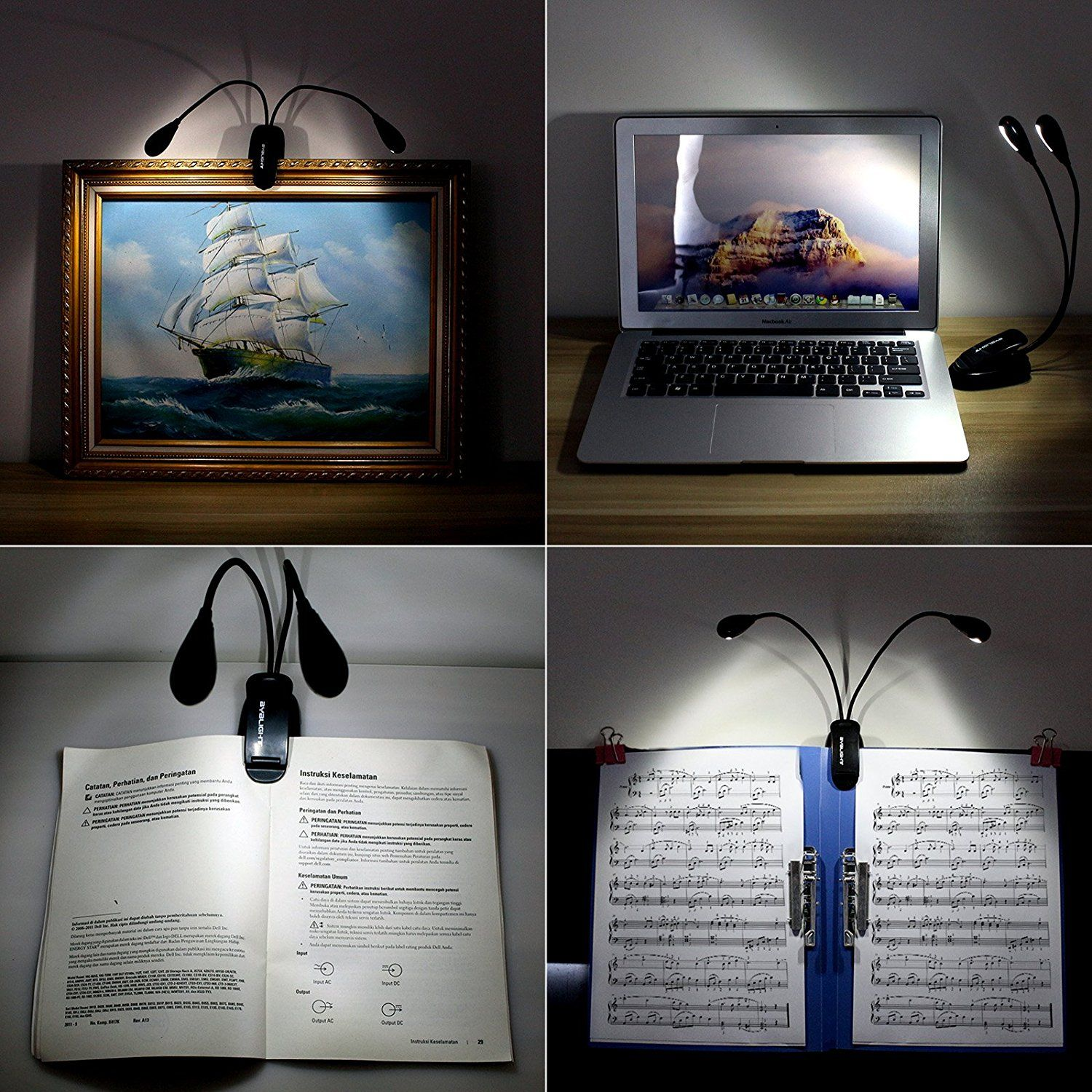 Amazon Book Light Gorgeous Amazon Byb E416 Multipurpose Gooseneck 8Led Reading Light Inspiration Design