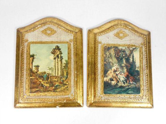 Florentine Pictures Wooden Wall Art Plaque Set Gold Gilt Italian ...