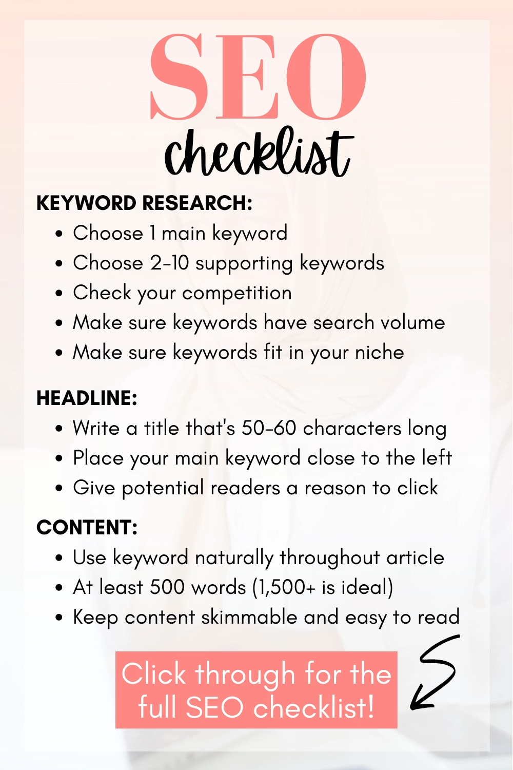 ✅ Free 38-Item SEO Checklist for Bloggers in 2021: