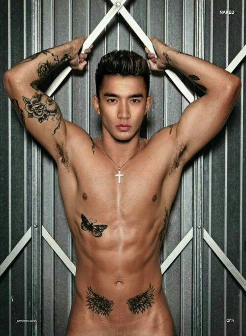 Male pornstar with chinese tattoo