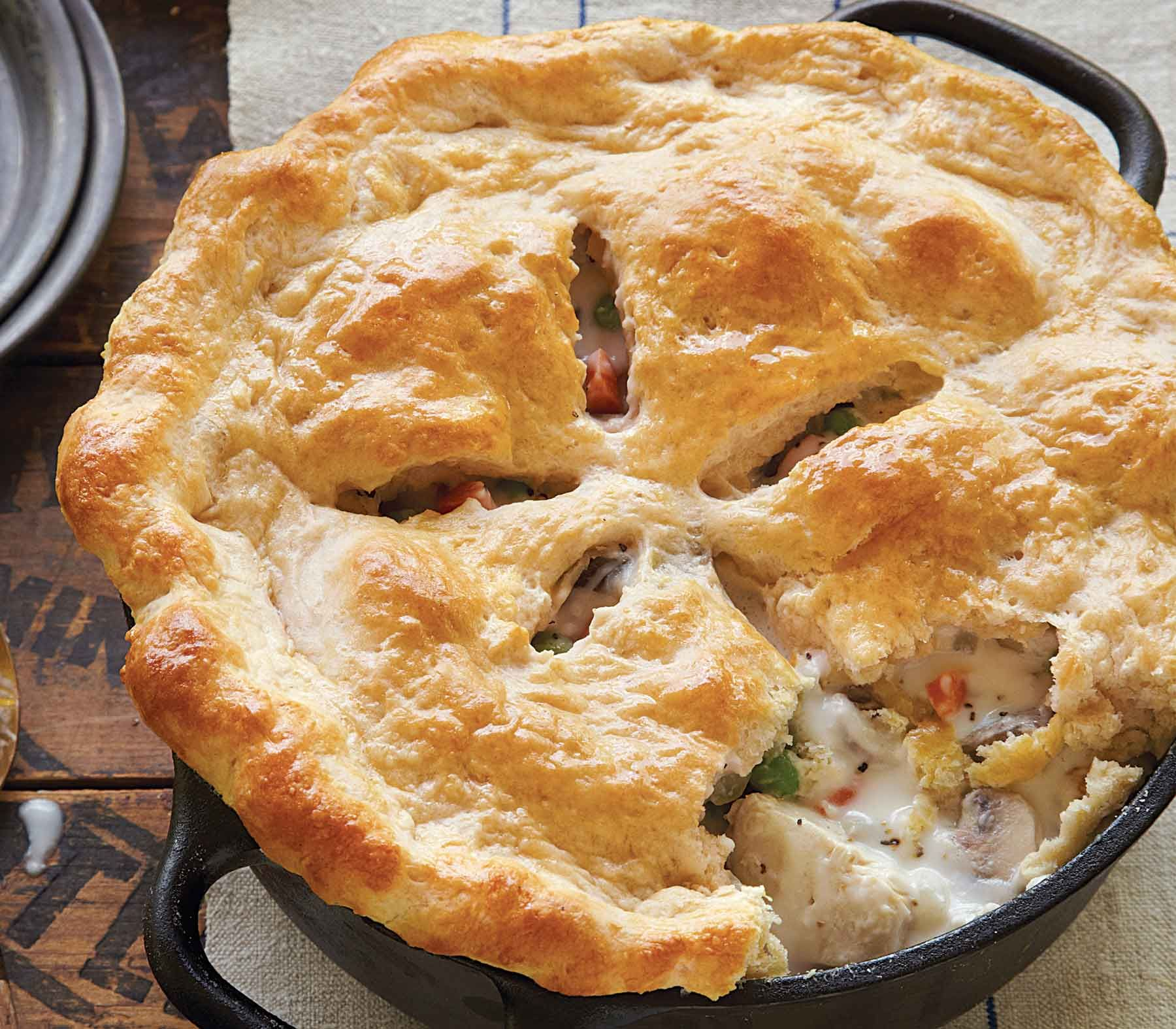 New England Chicken Pot Pie With Biscuit Crust Recipe in