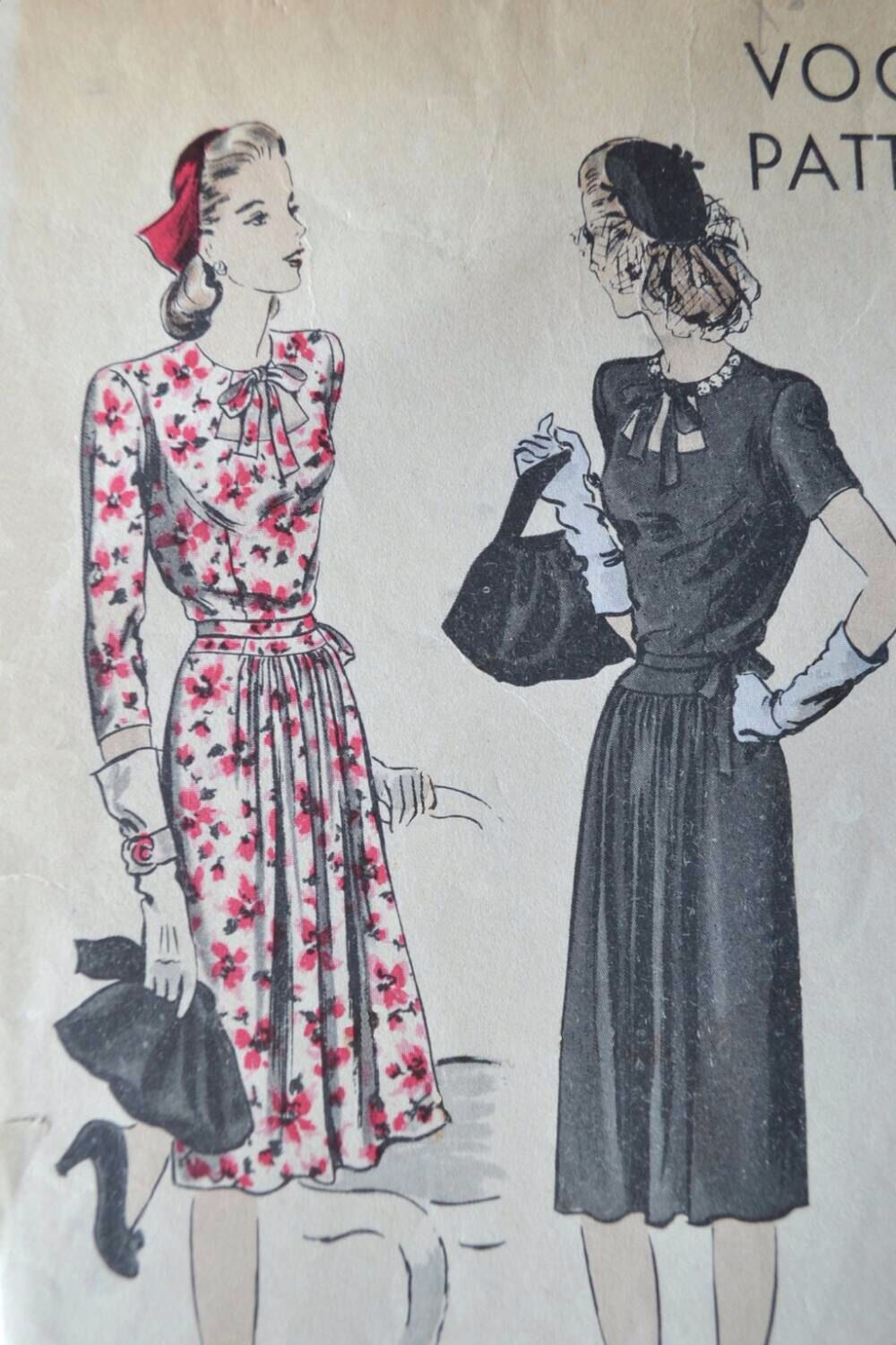 1940s Vogue Pattern dress 9861 Bust 32 inches - long or short ...