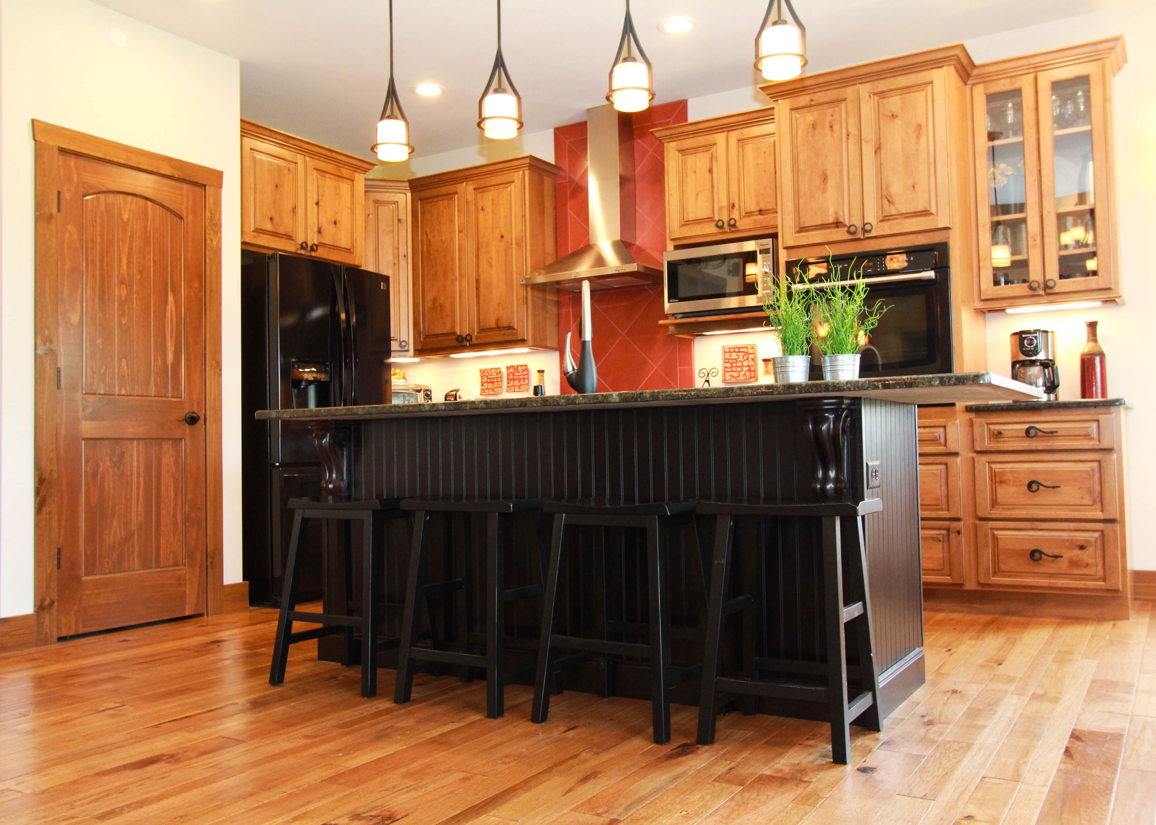 hickory cabinets black accent island kitchen remodel hickory cabinets kitchen on kitchen island ideas black id=93177
