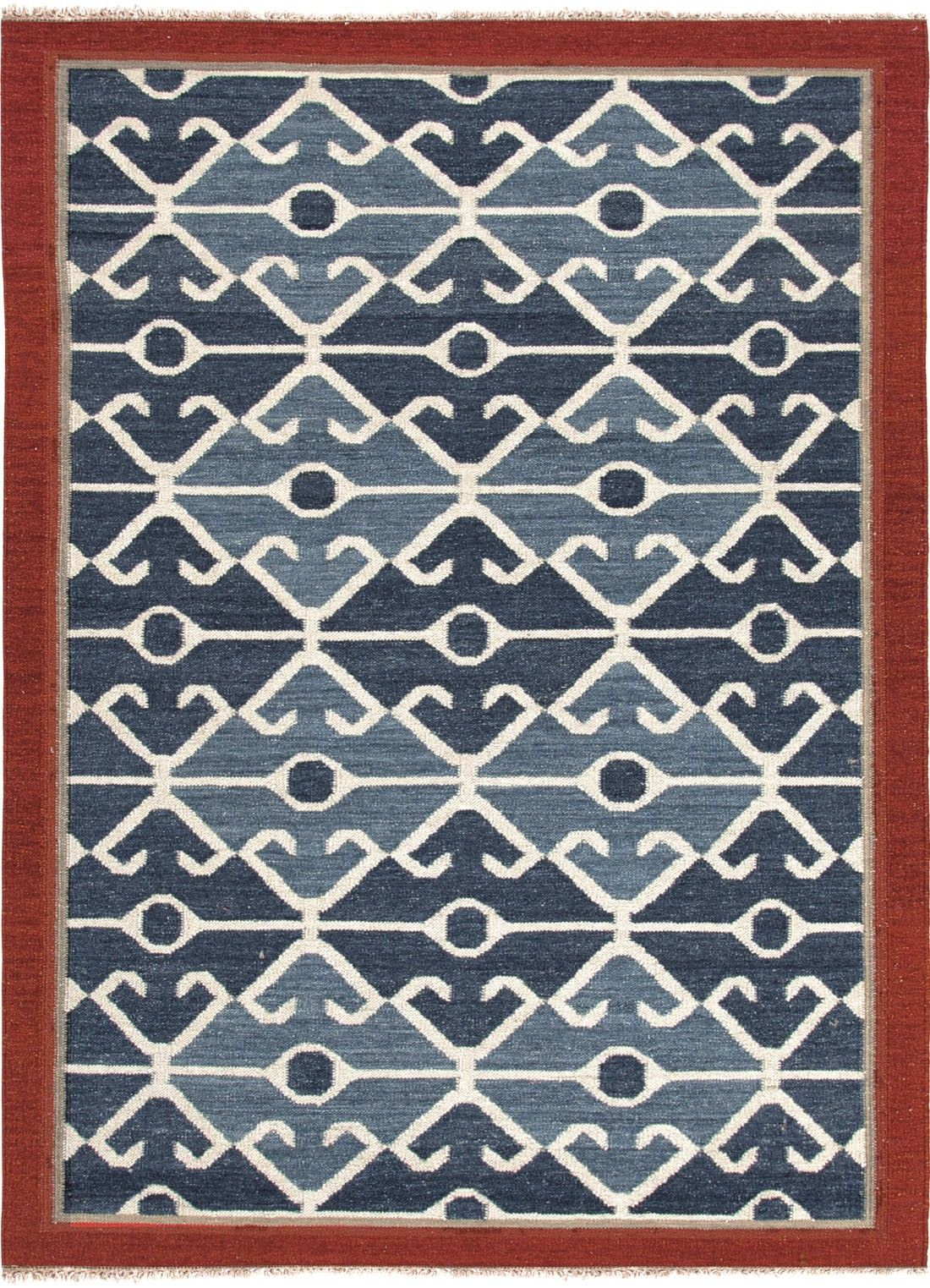 Flat Weave Tribal Pattern Wool Blue Red Area Rug 5 X 8
