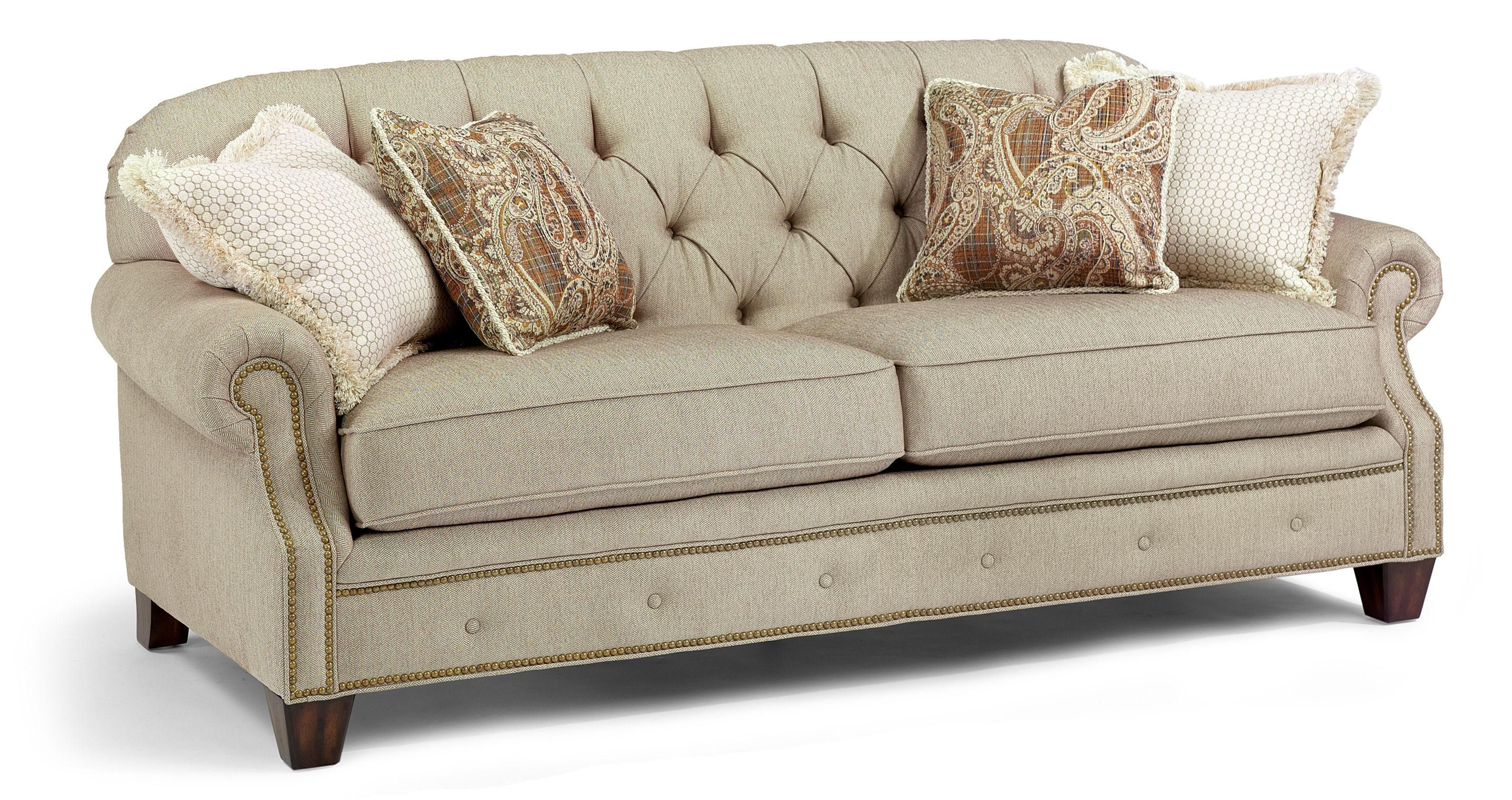Champion Transitional Button Tufted Sofa With Rolled Arms