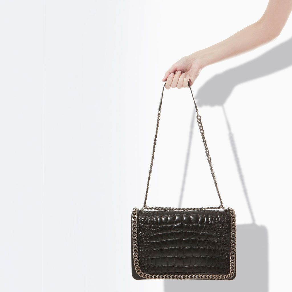 f63c4008bf CROCODILE PATTERN LEATHER CITY BAG WITH CHAIN - Ref. 4067/304 | 625.00 AED  | from Zara