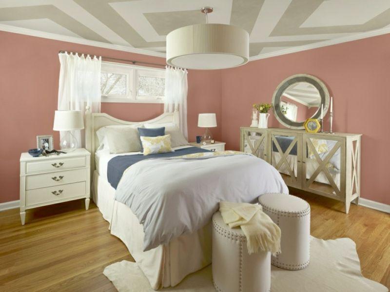 Wandfarbe Altrosa Schlafzimmer Decke Geometrische Muster Mobel