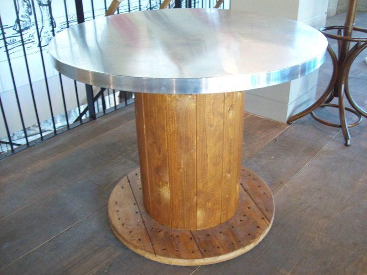 Electrical Spool Table With Metal Top