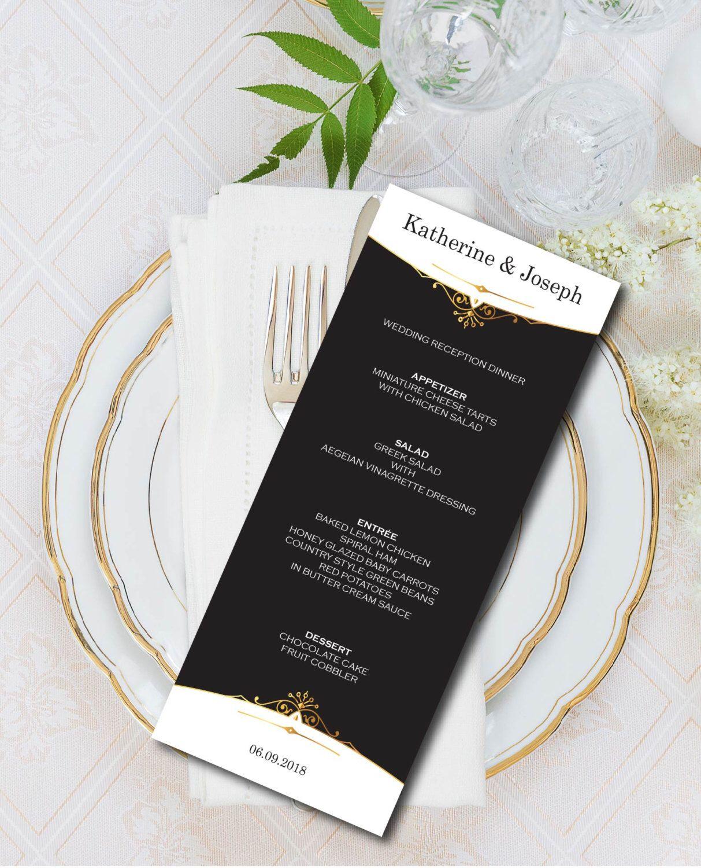 Wedding Menu Black Gold Menu Card Template Ceremony Elegant Luxury Printable Digital Diy Editable Pdf Instant Download E01a Menu Card Template Wedding Menu Cards Wedding Menu