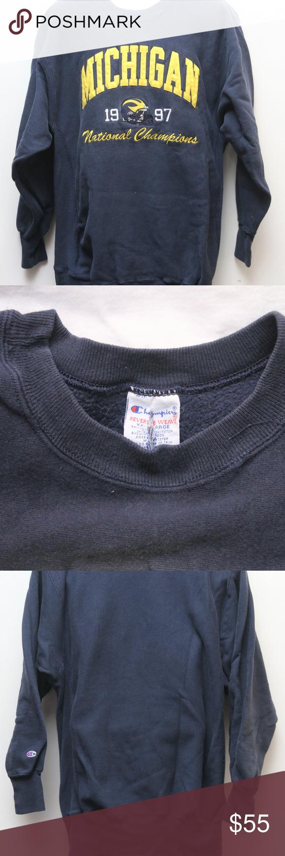 Vtg Champion Michigan 97 Nat L Champs Sweatshirt 1997 Vintage Champion Reverse Weave Michigan Wolverines 1997 Sweatshirts Champion Shirts Sweatshirt Shirt [ 1740 x 580 Pixel ]