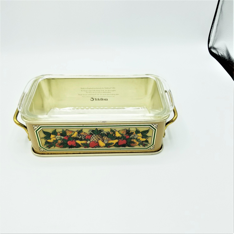 Vintage Pyrex Casserole Loaf Pan Teleflora Tin Holder Metal