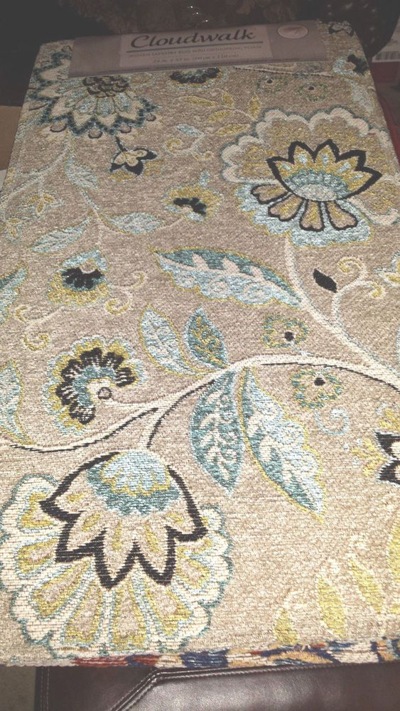 Cloudwalk Orthopedic Foam Rug Tan Blue Flower 24 X 43 Inches