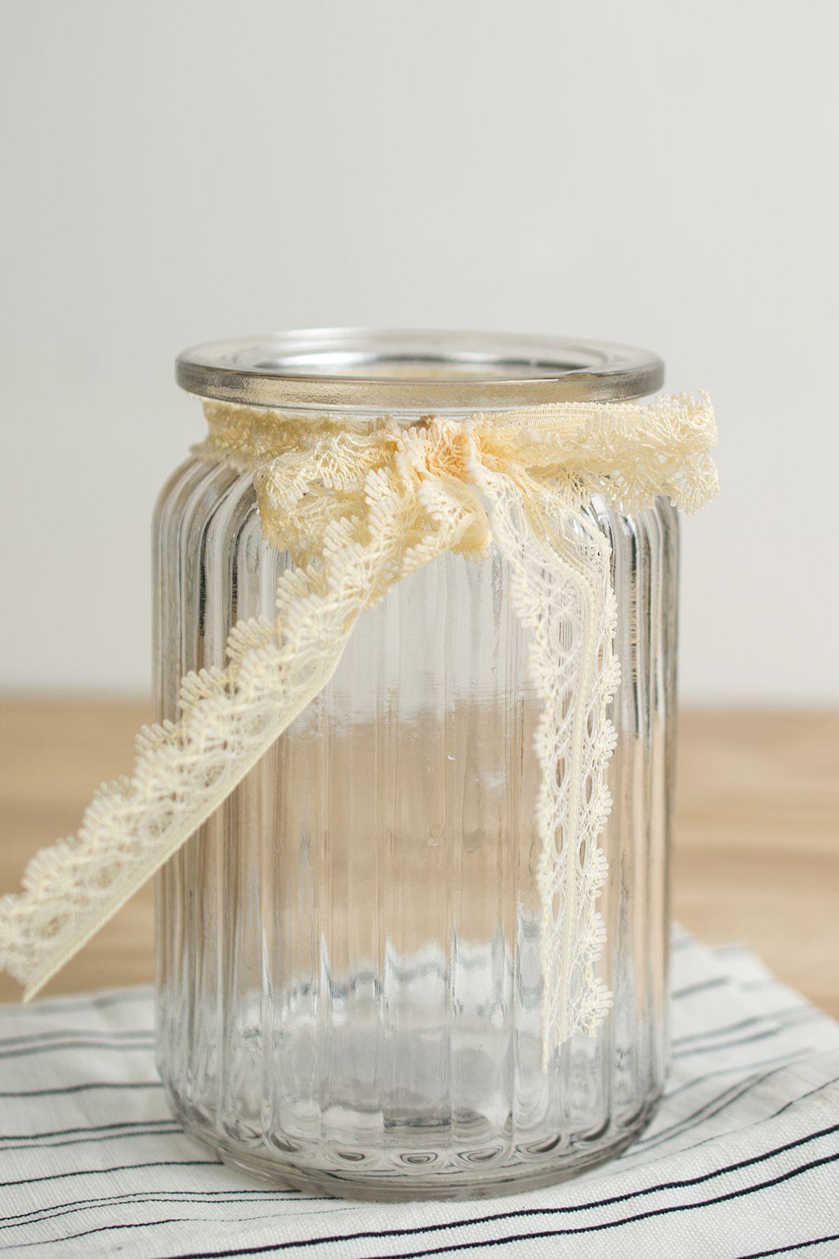 Lattice glass jar vase 55in ivory lace bow ivory place setting lattice glass jar vase 55in ivory lace bow floridaeventfo Images