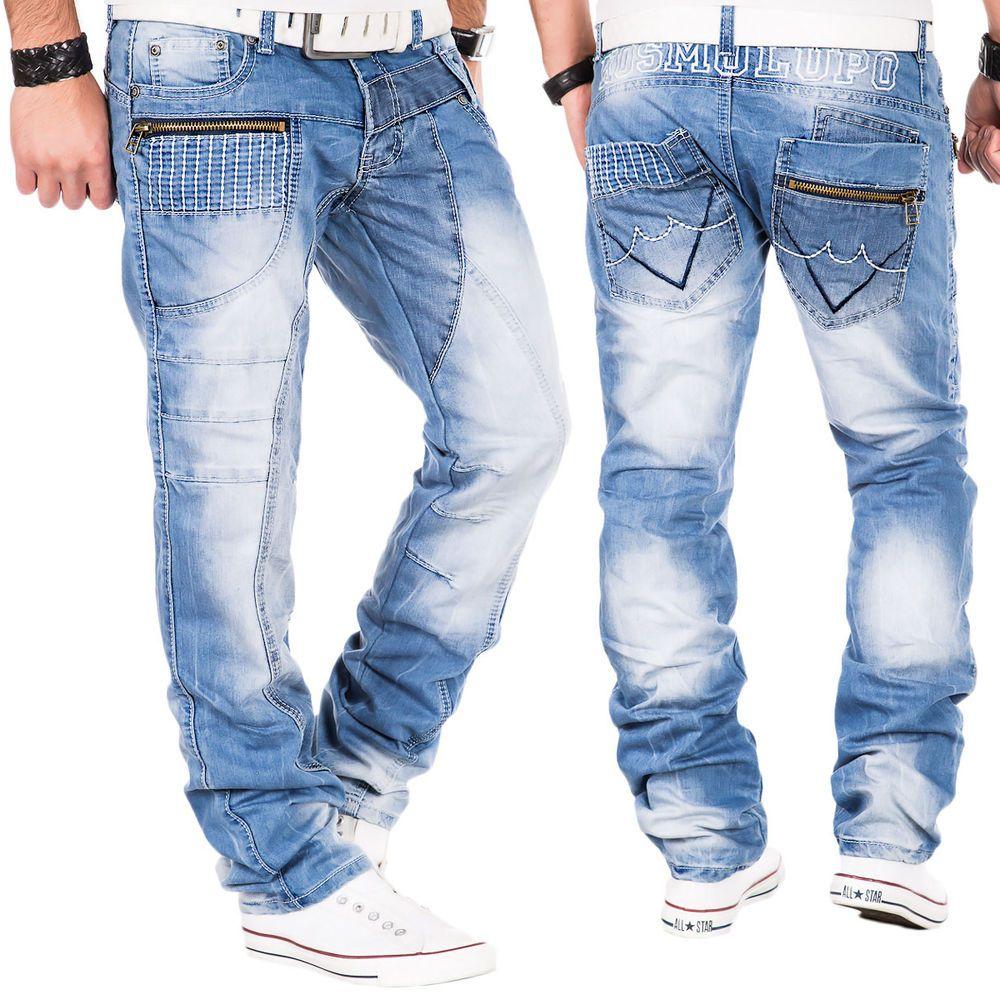 Cipo /& Baxx C 894 Uomo Denim Blue RAW Jeans Pantaloni Jeans Pantaloni Zipper Uomini Blu