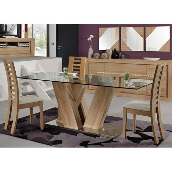 Season Glass Top 6 Seater Dining Table With Season Chairs With