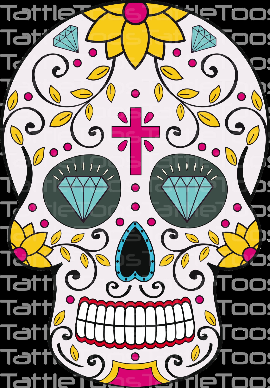 Mexican Sugar Skull Self Adhesive Vinyl Sticker