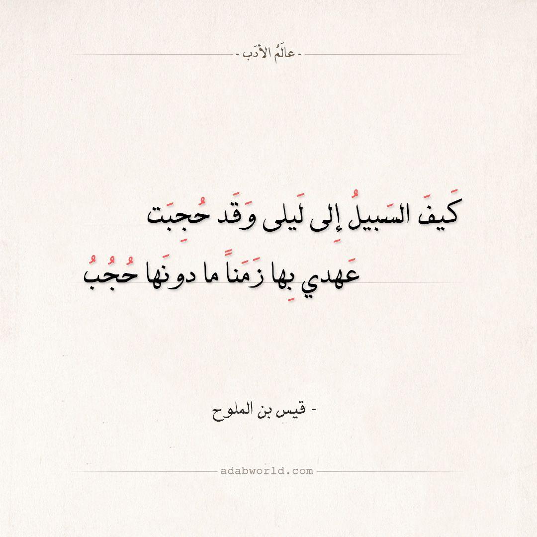 شعر قيس بن الملوح كيف السبيل إلى ليلى وقد حجبت عالم الأدب Arabic Poetry Arabic Calligraphy Poetry