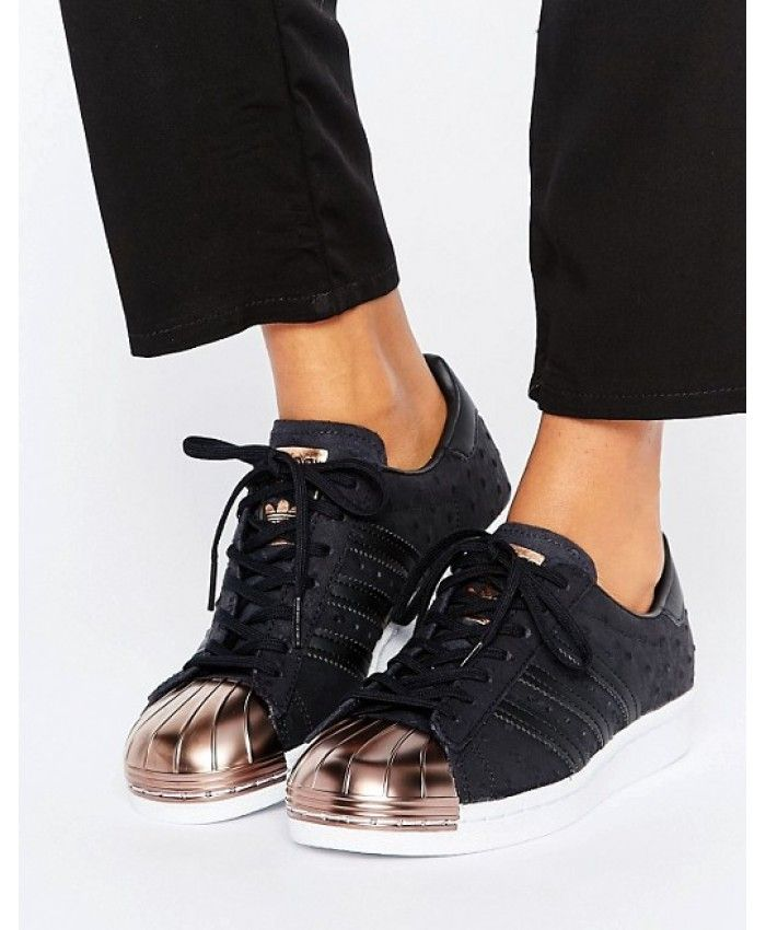 a37f906ebf188 Adidas Originals Superstar Black Metallic Trainers With Rose Gold Toe Sale  UK