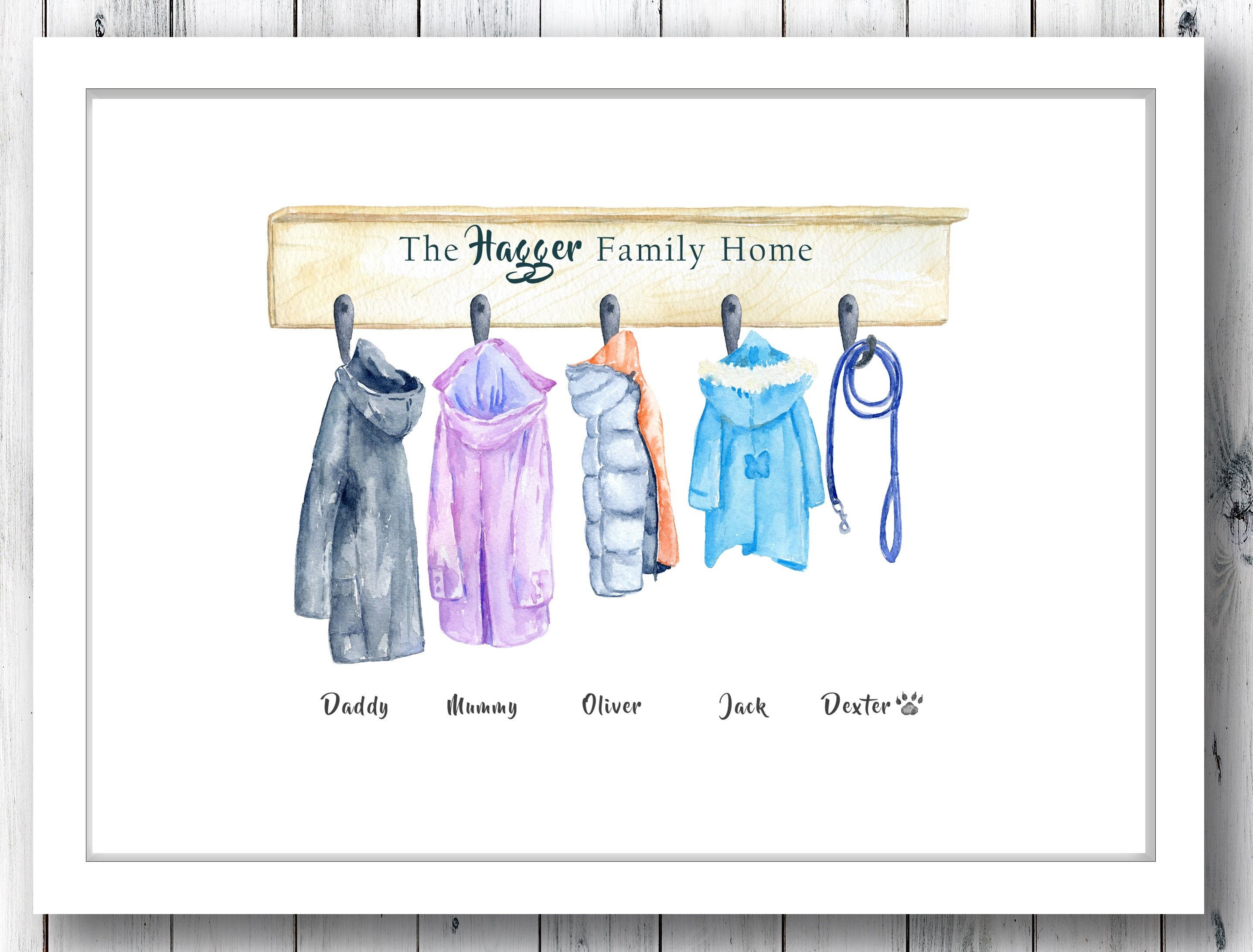 Family Coat Print Watercolour Coats Family Jackets Coat Family Print Coat Canvas Family Coat Hooks Family Sign Family Coat Rack Family Print Family Artwork First Home Gifts