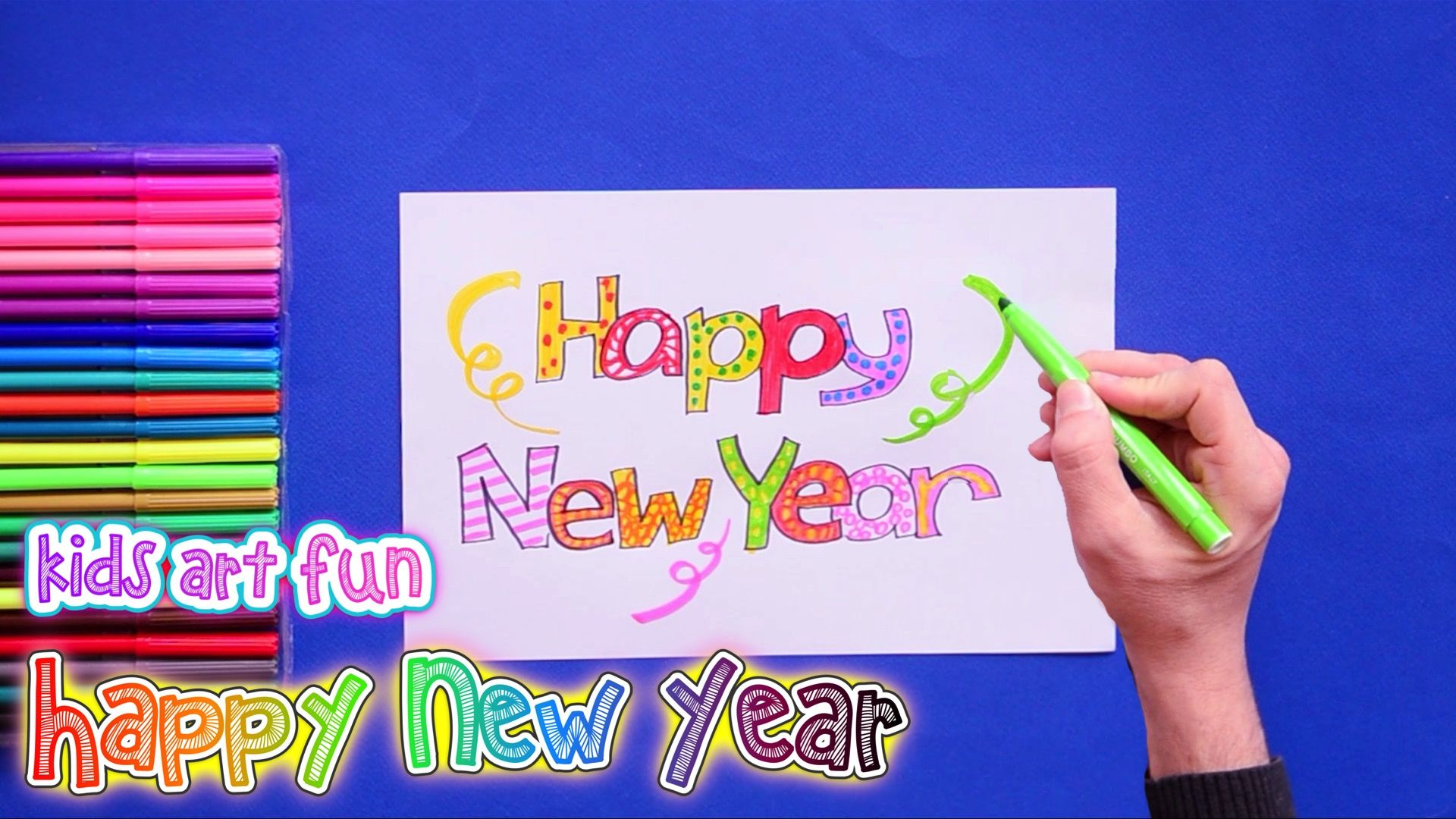 How To Draw And Color Happy New Year Card Happy New Year Cards New Year Card Happy Year
