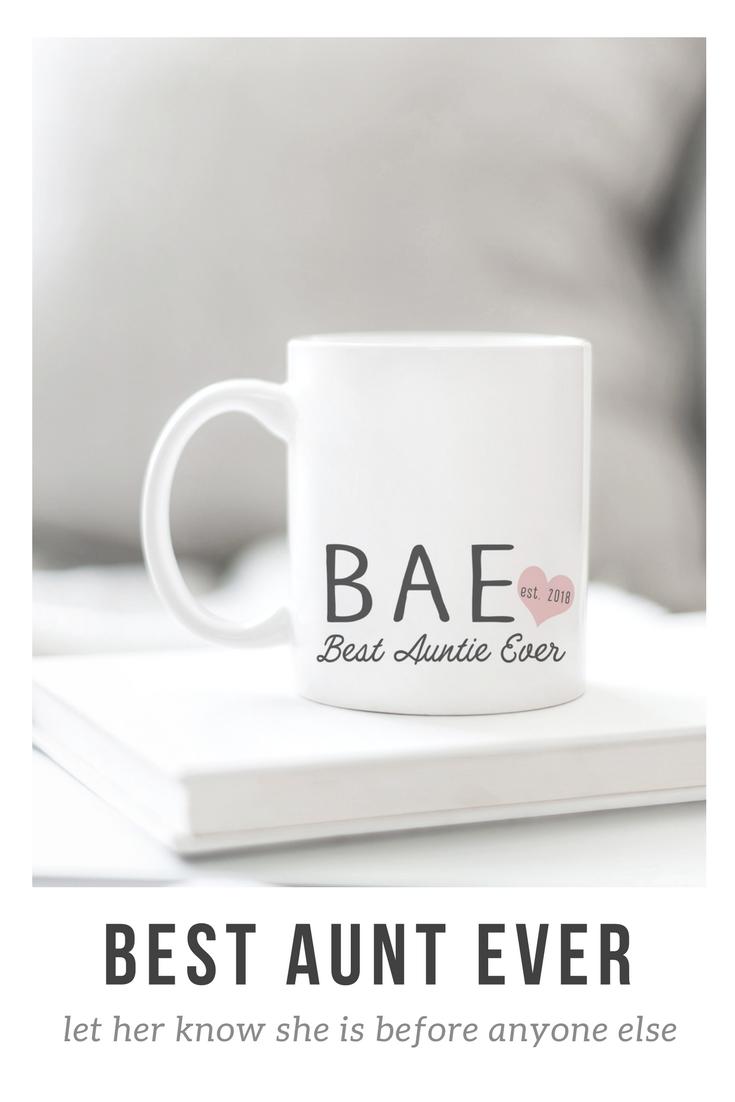 New Aunt Gift Idea Bae Best Aunt Ever Mug Christmas