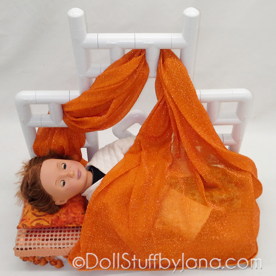 """Moroccan Daybed with sleeping 18"""" doll (pattern #1011AP)"""