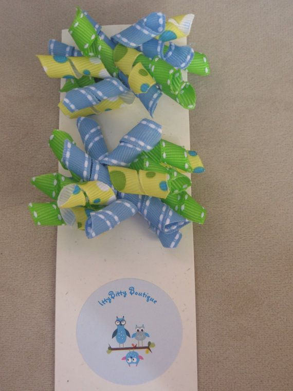Baby Blue Green and Yellow Pigtail Korkers by IttyBittyBoutique1, $5.00