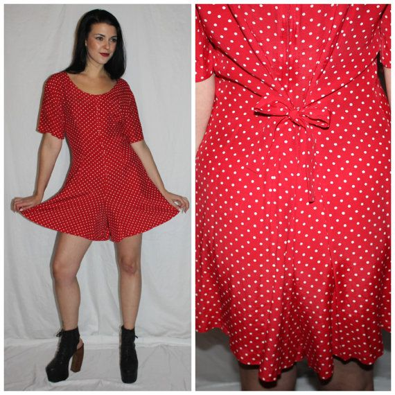 4dab9992870d Vintage Polka Dot Romper 90s Red White by PastLivesofNewYork