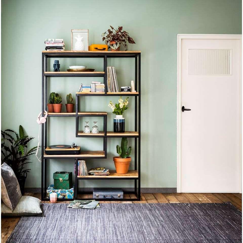 Etagere Murale Kyan Noire Couleur Naturelle 180x120x40 Cm Leen Bakker Decoraties Home Deco Interieur Woonkamer