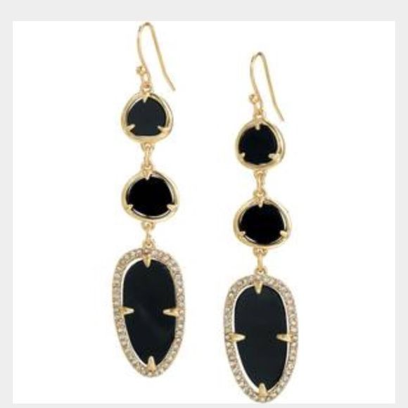 """Stunning Allergra Earrings! Gorgeous  Black & Gold Pave Earrings. One side of them has the Pave stone, the other just the black and gold.  They have a 2.25"""" drop length. They are a must for any little black dress, definitely can wear in everyday occasion. Willing to go a little bit lower in price if you wanted the necklace and earrings together. They both have been worn but look great and no tarnishing or scratches in either item. Stella & Dot Jewelry Earrings"""
