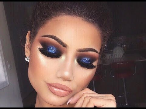navy blue smokey eye makeup tutorial  youtube  blaues