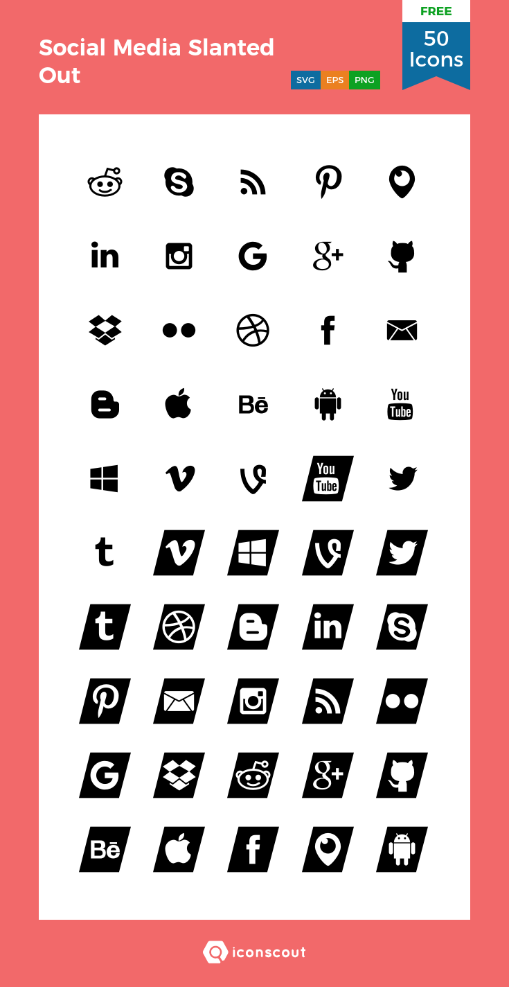 Download Social Media Slanted Out Icon pack Available in
