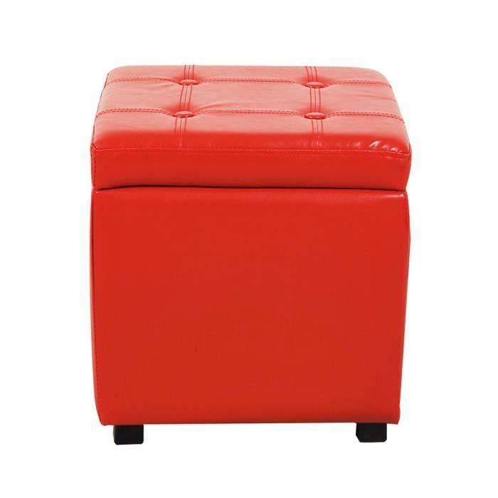 Pouf cube cube coffre de rangement rouge achat vente pouf poire simili - Cube metal rangement ...