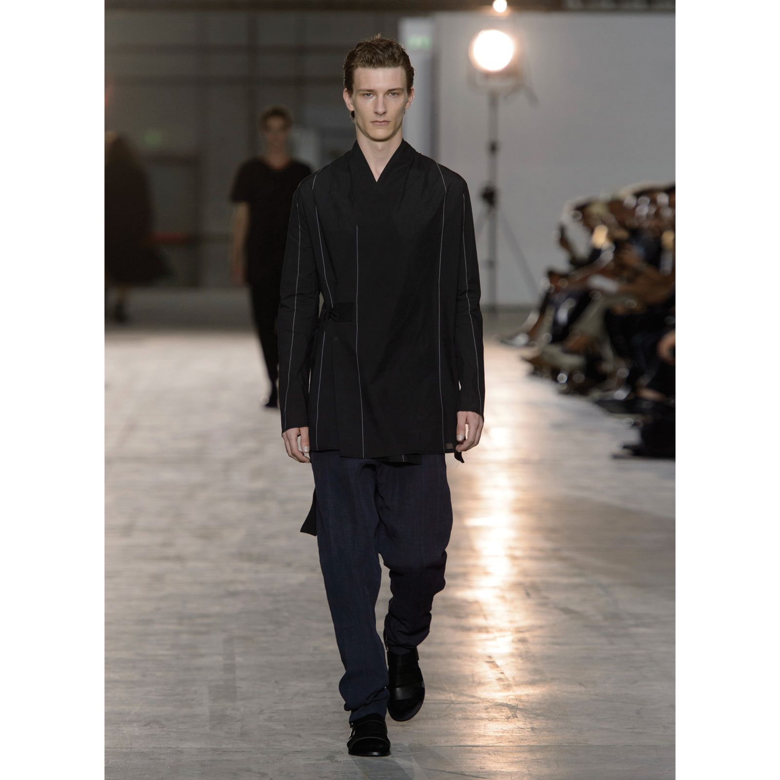 Damir Doma Men's SS16 Collection: Look 25 - Jahi Wrap Jacket, Plectro Stripe Trousers And Fiesta Sandals. https://www.instagram.com/p/BBXzhgUJ-5j/?taken-by=damirdomaofficial