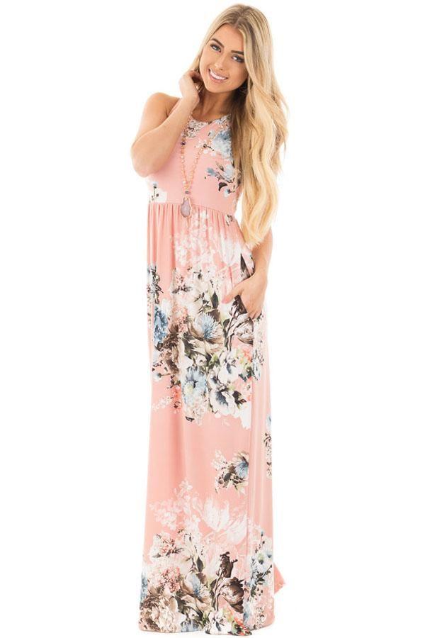 25bf7d980f6 Blush Floral Print Sleeveless Long Boho Dress. Blush Floral Print  Sleeveless Long Boho Dress Womens Fashion Australia