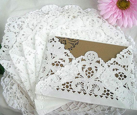 Handmade Vintage Wedding Invitations: Doily Paper Lace Envelopes, Vintage, Wedding, Handmade, A2