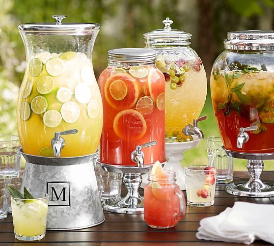 On the beach or on the front porch, our Mason-jar-inspired collection continues the American tradition of casual entertaining. DETAILS YOU'LL APPRECIATE • Made of molded glass. • Features a lead-free, stainless steel spout and gal