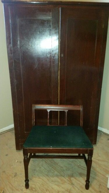 Antique Coat Closet And Bench