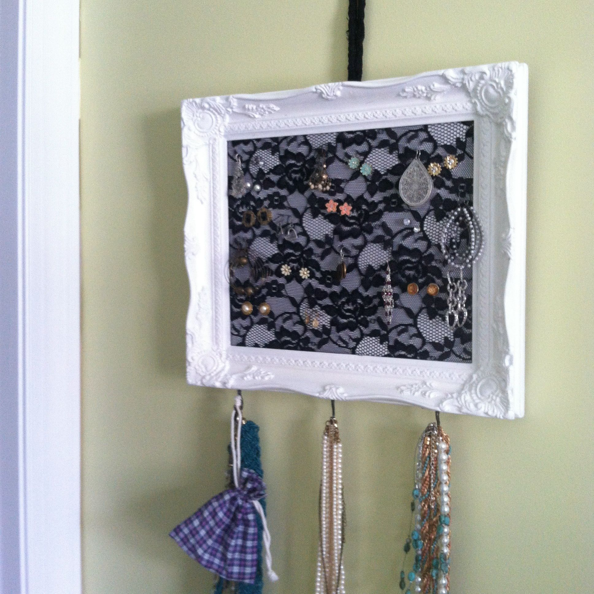 Diy Frame Jewelry Hanger With Lace And Foam Board