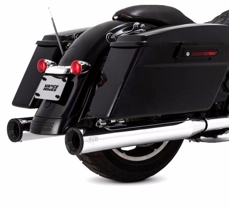 """4/"""" Chrome Slip-On Mufflers For 1995-2016 Harley Touring Road Black Slash Tip"""