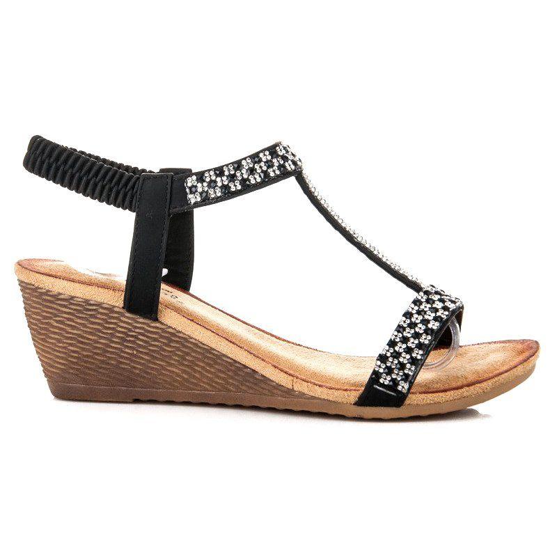 Fama Eleganckie Sandaly Na Koturnie Czarne Espadrilles Shoes Wedges
