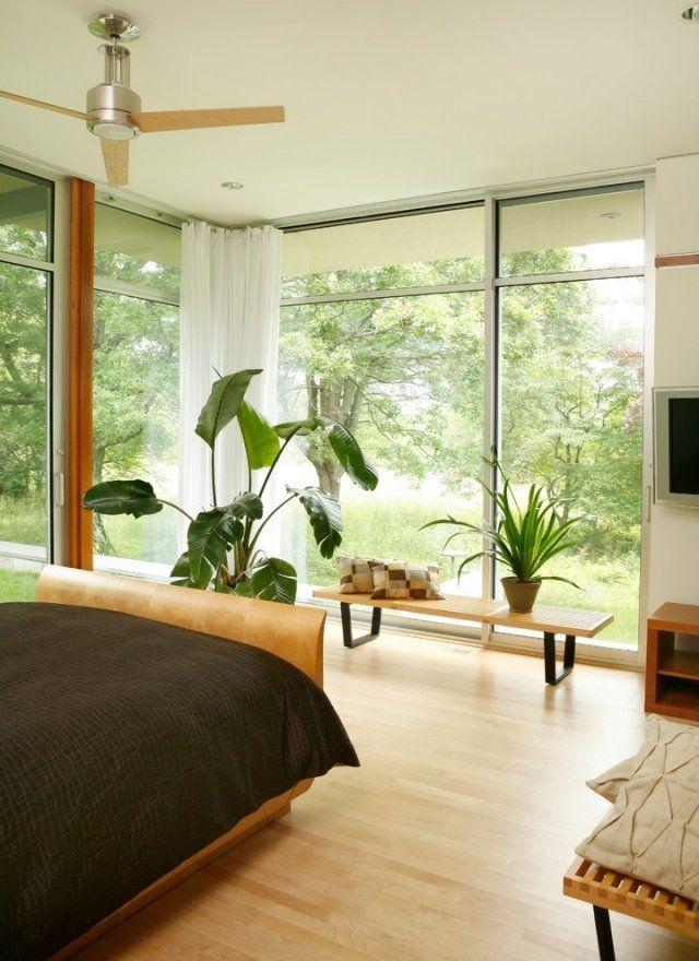 fensterfront schlafzimmer laminat holzbett zimmerpflanzen | Böden ...