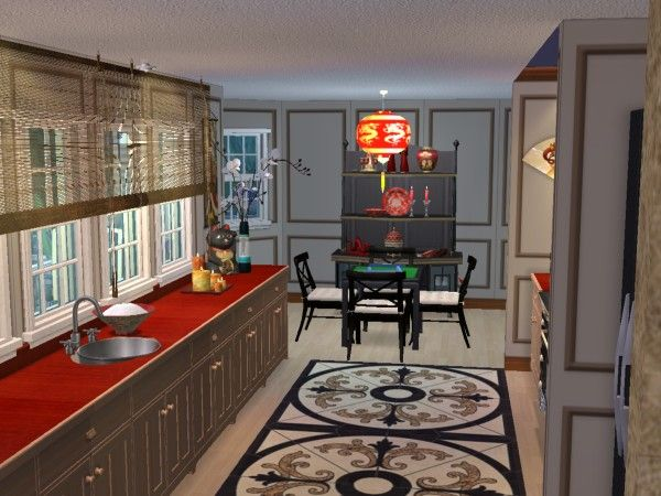 Asian Inspired Kitchen With Mahjong Table Virtual Home D Cor Designs Using The Sims 2