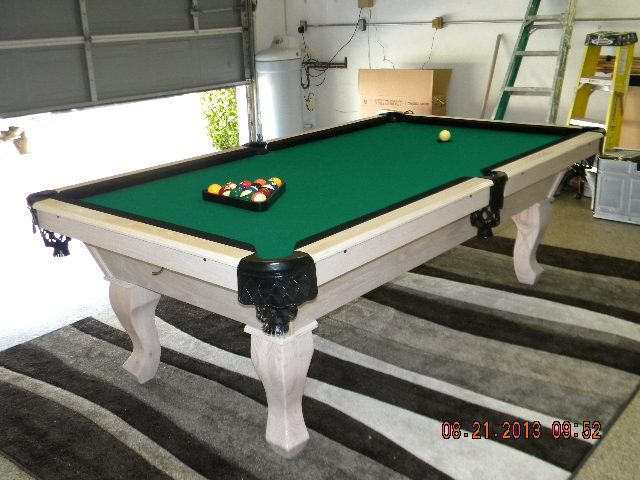 Captivating White Washed With Black Pockets    Stinger Pool Table With A Platinum Finish